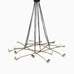 Mid-Century Italian Minimalist Chandelier in Brass in the Style of Stilnovo, 1950s