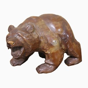 Black Forest Carved Bear in Cedar Wood, 1920s