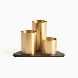 Gold Manhattan Desktop Organizer by Kerem Aris for Uniqka