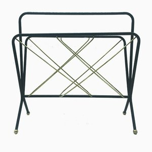 Mid-Century Italian Brass and Enameled Metal Magazine Rack, 1950s