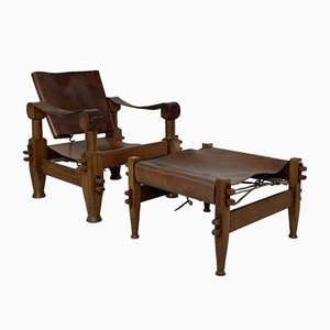Vintage French Teak and Leather Safari Armchair and Ottoman Set, 1940s