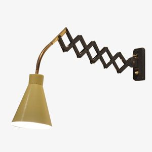 Mid Century Black & Yellow Harmonica Lamp from Hala