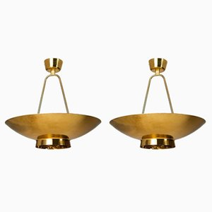 Model 9060 Ceiling Lamps by Paavo Tynell for Taito Oy, Finland, 1950s, Set of 2