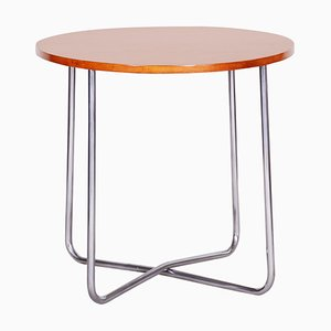 Czech Bauhaus Tubular Chrome & Beech Round Table from Vichr a Spol, 1930s