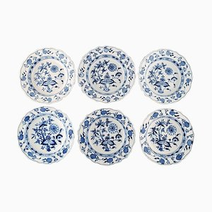 Antique Meissen Blue Onion Deep Plates in Hand-Painted Porcelain, Set of 6