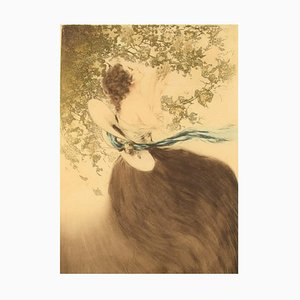Young Woman Picking Grapes Etching by Louis Icart, 1920s