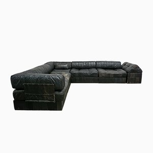DS88 Black Leather Patchwork Sofa from de Sede, 1970s
