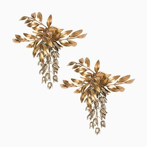 Gilt Metal Palm Tree Wall Sconces by Hans Kögl, 1970s, Set of 2