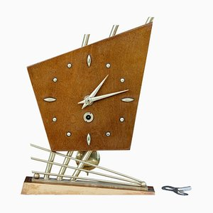 Sputnik Style Satinwood Table Clock, 1970s