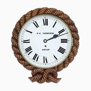 19th Century Carved Walnut Wall Clock by D.E. Thompson of Sidcup