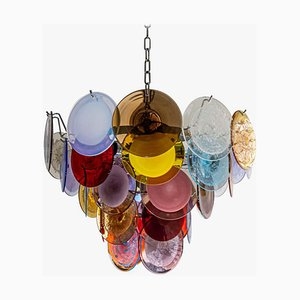 Multicolor Red, Blue, White, Purple & Mink Chandelier by Vistosi, 1970s