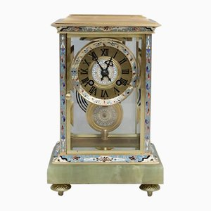 Antique French Champleve Four Glass Mantel Clock from Samuel Marti, 1890s