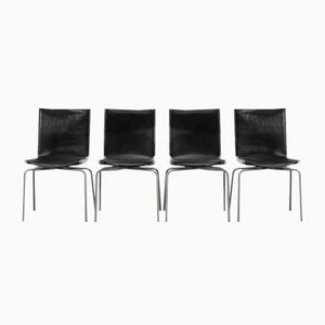 Vintage Leather Dining Chairs by Fabiaan van Severen for Fabiaan van Severen, 1990s, Set of 4