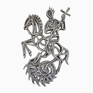 Brutalist Dragon Slayer Wall Sculpture, 1960s