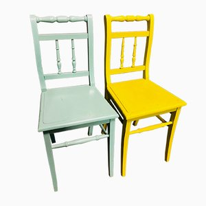 Yellow and Light Blue Bistro Chairs, 1960s, Set of 2