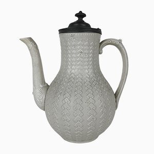 Victorian Salt Glazed White Ironstone Coffee Pot with Pewter Lid, 1870s