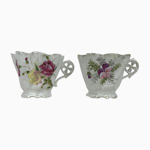 Victorian Mr & Mrs Gentleman's Mustache & Lady's Tea Cups, 1890s, Set of 2
