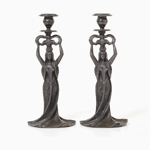 Art Nouveau Candleholders, Set of 2