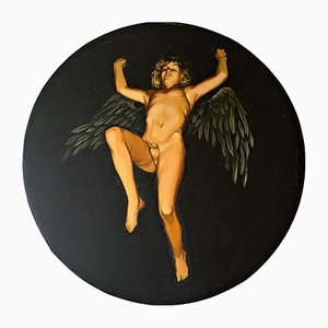 Young Winged Erot Oil Painting di Josta Stapper, 1973