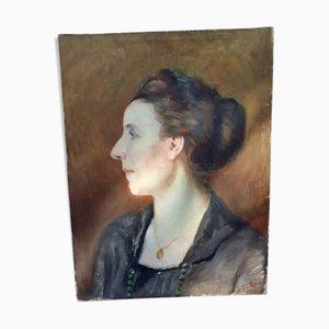 Retrato de una mujer pintura al óleo antigua