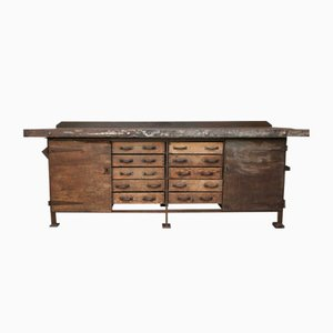 Vintage Iron and Wood Worktable, 1920s
