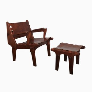 Mid-Century Ecuadorian Leather Lounge Chair and Ottoman Set by Angel I. Pazmino for Muebles de Estilo, 1960s