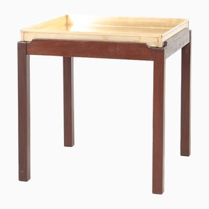 Mid-Century Mahogany and Brass Side Table, 1960s