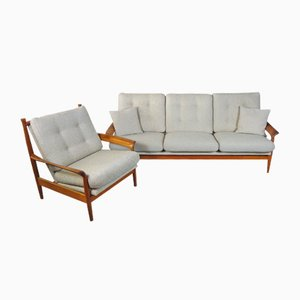 Mid-Century Danish Teak Living Room Set, 1960s, Set of 2