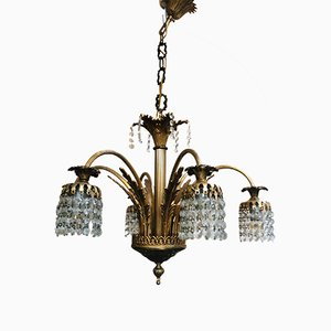 Crystal and Gold Platter Chandelier, 1920s