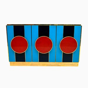 Postmodern Italian Tinted Glass and Brass Sideboard, 1989