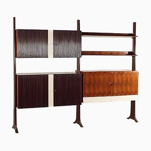 Mid-Century Italian Mahogany Wall Unit in the Style of Paolo Buffa, 1950s