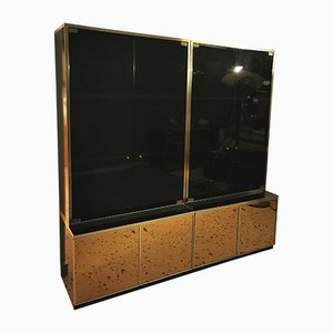 Wood, Mirrored Glass & Brass Modular Display Cabinet by Renato Zevi, 1970s, Set of 4