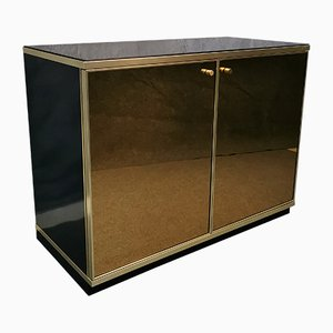 Wood, Mirrored Glass & Brass Cabinet by Renato Zevi, 1970s