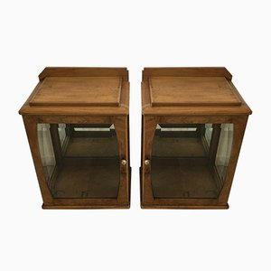 Art Deco Beveled Glass Display Cabinets, 1930s, Set of 2