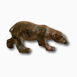 Mid-Century Polychrome Patinated Bronze Polar Bear Figurine by Pierre Chenet