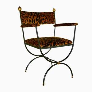 Leopard Silk Velvet Curule Armchair, 1960s