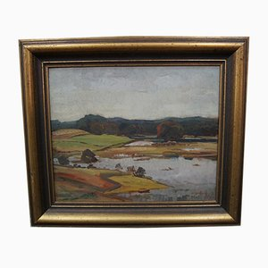 Modern Swedish Oil Painting by Gotthard Sandberg, 1930