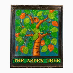 Vintage English Hand Painted Pinewood The Aspen Tree Pub Sign, 1950s