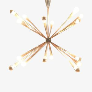 Large French Midcentury Bicolored Brass Sputnik Chandelier