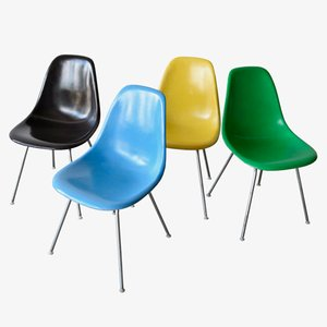 Vintage DSX Chairs by Charles and Ray Eames for Herman Miller, Set of 4