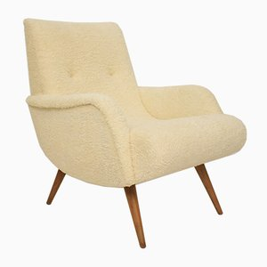 Mid-Century Scandinavian White Sheep Wool Armchair, 1960s