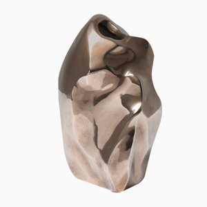 French Sculptural Bronze Vase by Michel Jaubert, 1960s
