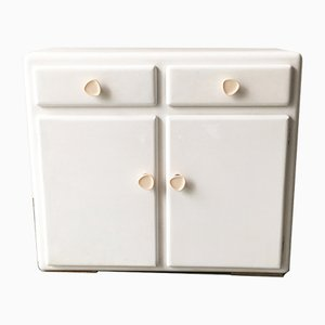 Mid-Century White Painted Wood and Bakelite Cabinet