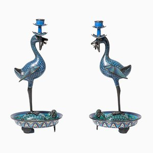 Antique Bronze Cloisonné Candleholders, Set of 2