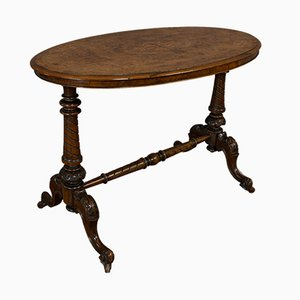 Antique Victorian English Oval Burl Walnut Side Table, 1870s