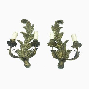 Antique Italian Giltwood Wall Appliques, Set of 2