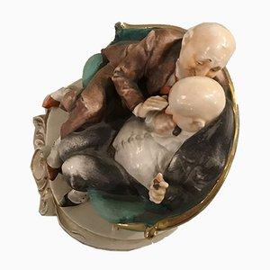 Sculpture The Joke par Cappe Giuseppe pour Capodimonte, 1950s
