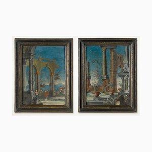 Venezianische Gemälde der Commedia dell'Arte, 18. Jh., 2er Set
