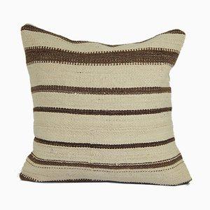 Organic Turkish Striped Hemp Kilim Cushion Cover