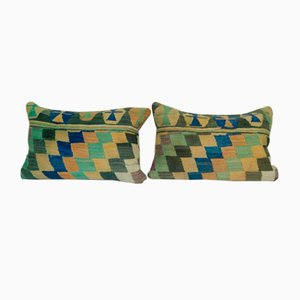 Handmade Zig Zag Turkish Kilim Cushion Covers, Set of 2
